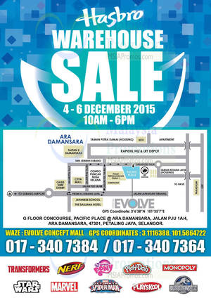 Featured image for Hasbro Warehouse Sale @ Evolve Concept 4 – 6 Dec 2015