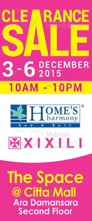 Featured image for Home's Harmony & Xixili Clearance Sale @ Citta Mall 3 – 6 Dec 2015