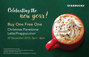 Featured image for Starbucks Buy One FREE One Promo 5pm – 8pm 29 Dec 2015