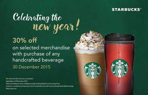 Featured image for Starbucks 30% OFF Selected Merchandise 1-Day Promo 30 Dec 2015
