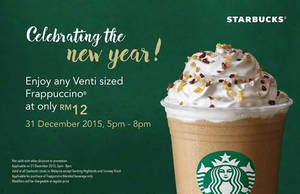 Featured image for Starbucks RM12 Venti-Sized Frappuccinos 1-Day Promo 31 Dec 2015