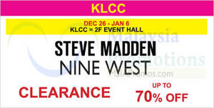 Featured image for Steve Madden & Nine West Clearance @ KLCC 26 Dec 2015 – 6 Jan 2016