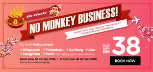 """Featured image for Air Asia fr RM38 all-in """"No Monkey Business"""" Promo Fares 18 – 24 Jan 2016"""