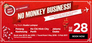 Featured image for Air Asia fr RM28 (all-in) New Year Promo Fares 4 – 10 Jan 2016