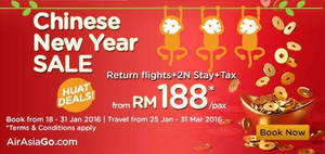 Featured image for Air Asia Go RM188/pax (2N Stay, Return Flights & Taxes) Package Offer 18 – 31 Jan 2016