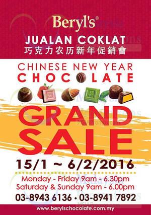 Featured image for Beryl's Chocolate Warehouse SALE @ Seri Kembangan Selangor 15 Jan – 6 Feb 2016