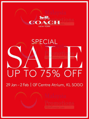 Featured image for Coach Special Sale @ KL Sogo 29 Jan – 2 Feb 2016