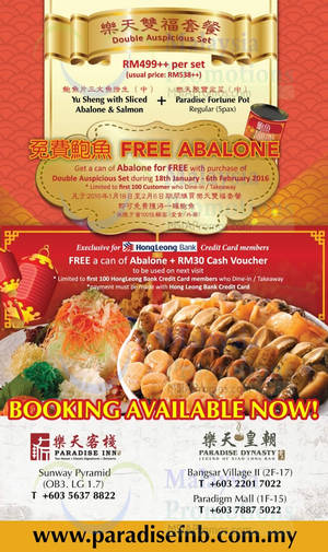 Featured image for Paradise Group Free Abalone Promotion 18 Jan – 6 Feb 2016