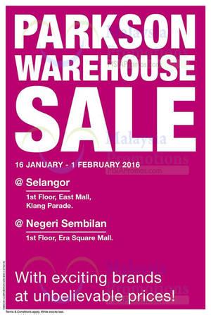 Featured image for Parkson Warehouse Sale @ Petani Parade Kedah 16 Jan – 1 Feb 2016