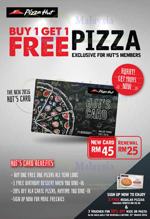 Featured image for Pizza Hut Privilege Card Buy 1 FREE 1 Promotion From 4 Jan 2016