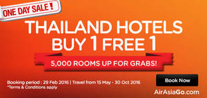 Featured image for Air Asia Go Buy 1 FREE 1 Thailand Hotels 24hr Promo 29 Feb 2016