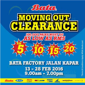 Featured image for Bata Brands Moving Out Clearance @ Klang 13 – 28 Feb 2016