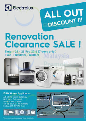 Featured image for Electrolux Renovation Clearance Sale 22 – 28 Feb 2016