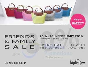 Featured image for Longchamp & Kipling Warehouse Sale @ The School Jaya One 26 – 28 Feb 2016