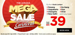 Featured image for Air Asia fr RM39 all-in Promo Fares 28 Mar – 3 Apr 2016