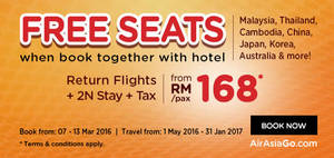 Featured image for Air Asia Go fr RM168/pax (Return Flights, 2N Stay & Taxes inc.) 7 – 13 Mar 2016