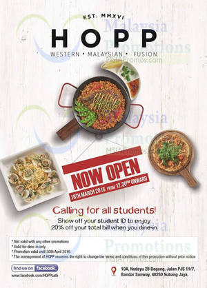 Featured image for HOPP Cafe 20% Off Student Discount @ Bandar Sunway 16 Mar – 30 Apr 2016