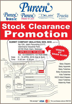 Featured image for Pureen Warehouse Stock Clearance SALE (Apr 2016) 9 – 10 Apr 2016