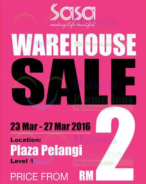 Featured image for Sasa Warehouse SALE @ Plaza Pelangi JB 23 – 27 Mar 2016