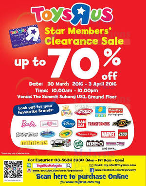 """Featured image for Toys """"R"""" Us Clearance SALE @ The Summit 30 Mar – 3 Apr 2016"""