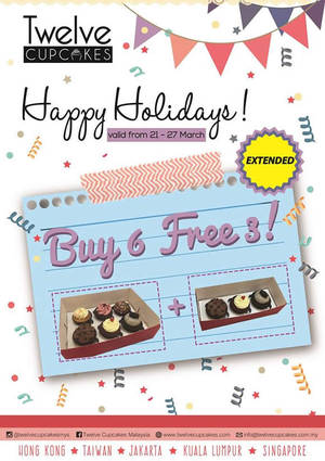 Featured image for Twelve Cupcakes Buy 6 Free 3 Promo 23 – 27 Mar 2016