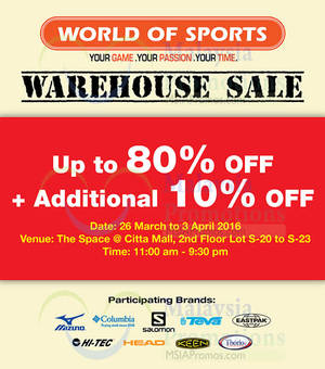 Featured image for World Of Sports Warehouse Sale @ Citta Mall 26 Mar – 3 Apr 2016