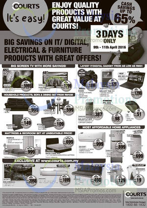 Featured image for Courts Up To 65% Off Savings Offers 9 – 11 Apr 2016