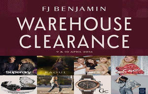Featured image for FJ Benjamin Warehouse Clearance 9 – 10 Apr 2016