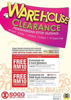 Featured image for KL Sogo Warehouse Clearance 28 Apr – 8 May 2016