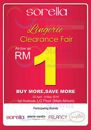 Featured image for Sorella Lingerie Clearance Fair from 22 Apr – 8 May 2016