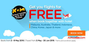 Featured image for Air Asia Go Book Hotel & Get FREE Flights from 2 – 15 May 2016