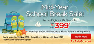 Featured image for Air Asia Go fr RM399 3N (Flights + Hotels + Taxes) Packages from 9 – 15 May 2016