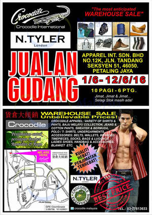 Featured image for Crocodile Warehouse Stock Clearance Sale at Petaling Jaya from 1 – 12 Jun 2016