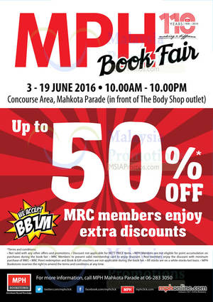 Featured image for MPH Book Fair at Mahkota Parade Melaka from 3 – 19 Jun 2016