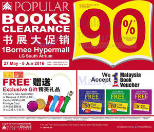 Featured image for Popular Books Clearance at 1Borneo Hypermall from 27 May – 5 Jun 2016