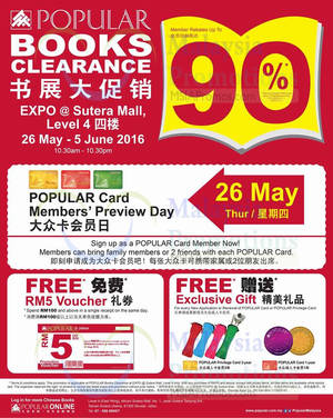 Featured image for Popular Books Clearance at EXPO@Sutera Mall from 26 May – 5 Jun 2016