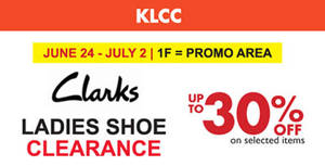 Featured image for Clarks Ladies Shoe Clearance at KLCC from 24 Jun – 2 Jul 2016