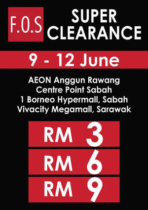 Featured image for F.O.S Super Clearance at 3 Outlets from 9 – 12 Jun 2016