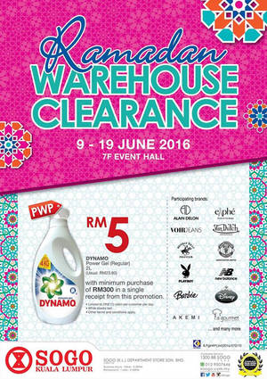 Featured image for KL SOGO Ramadan Warehouse Clearance from 9 – 19 Jun 2016