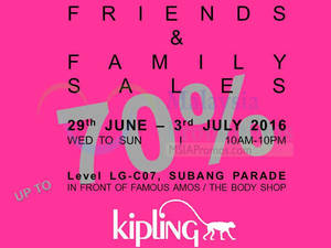 Featured image for Kipling Friends & Family Sale at Subang Parade from 29 Jun – 3 Jul 2016