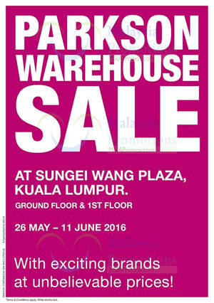 Featured image for Parkson Warehouse Sale at Sungei Wang Plaza from 26 May – 11 Jun 2016