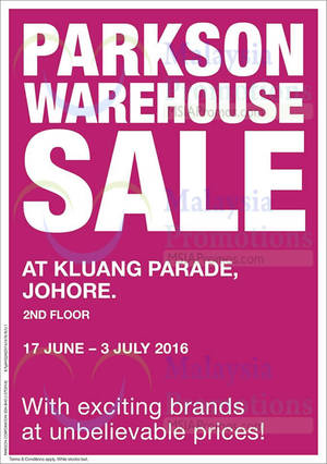 Featured image for Parkson Warehouse Sale at Kluang Parade from 17 Jun – 3 Jul 2016