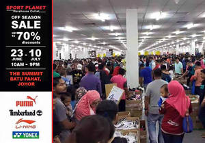 Featured image for Sport Planet Off Season Sale at The Summit Johor from 23 Jun – 10 Jul 2016
