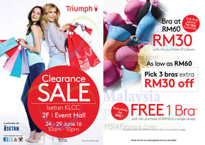 Featured image for Triumph Lingerie Clearance Sale from 24 – 29 Jun 2016