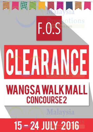Featured image for F.O.S: Clearance Sale at Wangsa Walk from 15 – 24 Jul 2016