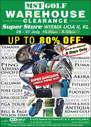 MST Golf  Warehouse Clearance Sale at Wisma UOA II KL from 26 – 31 Jul 2016 446e83f28