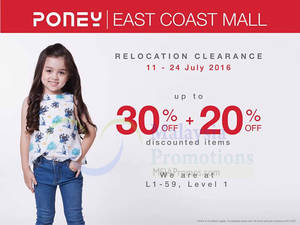 Featured image for Poney: Relocation Clearance at East Coast Mall Kuantan from 11 – 24 Jul 2016