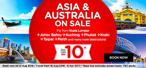 Featured image for Air Asia: Fares fr RM10* to over 70 Destinations from 15 – 21 Aug 2016