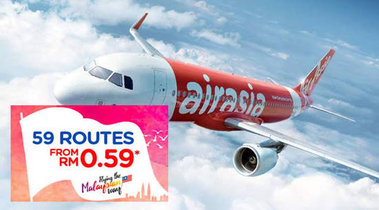 Featured image for Air Asia: 59 Routes at RM0.59* and Up to 50% Off Thailand & Philippines Flights from 22 - 28 Aug 2016