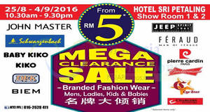 Featured image for Jetz: Branded Clearance Sale – Baby Kiko, Kiko, John Master & More at Hotel Sri Petaling from 25 Aug – 4 Sep 2016